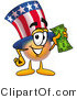 Illustration of a Cartoon Uncle Sam Mascot Holding a Dollar Bill by Toons4Biz