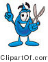 Illustration of a Cartoon Water Drop Mascot Holding a Pair of Scissors by Toons4Biz