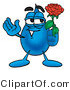 Illustration of a Cartoon Water Drop Mascot Holding a Red Rose on Valentines Day by Toons4Biz