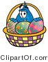 Illustration of a Cartoon Water Drop Mascot in an Easter Basket Full of Decorated Easter Eggs by Toons4Biz