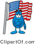 Illustration of a Cartoon Water Drop Mascot Pledging Allegiance to an American Flag by Toons4Biz