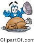 Illustration of a Cartoon Water Drop Mascot Serving a Thanksgiving Turkey on a Platter by Toons4Biz