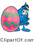 Illustration of a Cartoon Water Drop Mascot Standing Beside an Easter Egg by Toons4Biz