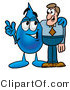 Illustration of a Cartoon Water Drop Mascot Talking to a Business Man by Toons4Biz