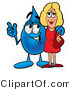 Illustration of a Cartoon Water Drop Mascot Talking to a Pretty Blond Woman by Toons4Biz