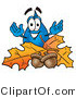 Illustration of a Cartoon Water Drop Mascot with Autumn Leaves and Acorns in the Fall by Toons4Biz