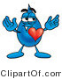 Illustration of a Cartoon Water Drop Mascot with His Heart Beating out of His Chest by Toons4Biz