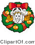 Illustration of a Chef Hat Mascot in the Center of a Christmas Wreath by Toons4Biz