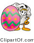 Illustration of a Chef Hat Mascot Standing Beside an Easter Egg by Toons4Biz