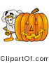 Illustration of a Chef Hat Mascot with a Carved Halloween Pumpkin by Toons4Biz