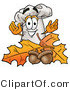Illustration of a Chef Hat Mascot with Autumn Leaves and Acorns in the Fall by Toons4Biz