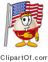 Illustration of a Fishing Bobber Mascot Pledging Allegiance to an American Flag by Toons4Biz