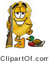 Illustration of a Police Badge Mascot Duck Hunting, Standing with a Rifle and Duck by Toons4Biz