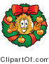 Illustration of a Police Badge Mascot in the Center of a Christmas Wreath by Toons4Biz