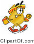 Illustration of a Police Badge Mascot Speed Walking or Jogging by Toons4Biz