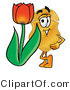 Illustration of a Police Badge Mascot with a Red Tulip Flower in the Spring by Toons4Biz