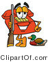 Illustration of a Red Cartoon Telephone Mascot Duck Hunting, Standing with a Rifle and Duck by Toons4Biz