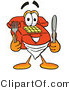 Illustration of a Red Cartoon Telephone Mascot Holding a Knife and Fork by Toons4Biz