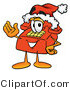 Illustration of a Red Cartoon Telephone Mascot Wearing a Santa Hat and Waving by Toons4Biz