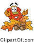 Illustration of a Red Cartoon Telephone Mascot with Autumn Leaves and Acorns in the Fall by Toons4Biz