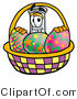 Illustration of a Science Beaker Mascot in an Easter Basket Full of Decorated Easter Eggs by Toons4Biz