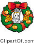 Illustration of a Science Beaker Mascot in the Center of a Christmas Wreath by Toons4Biz