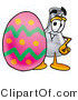 Illustration of a Science Beaker Mascot Standing Beside an Easter Egg by Toons4Biz