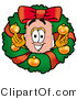 Illustration of an Adhesive Bandage Mascot in the Center of a Christmas Wreath by Toons4Biz