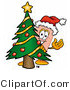 Illustration of an Adhesive Bandage Mascot Waving and Standing by a Decorated Christmas Tree by Toons4Biz