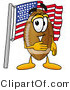 Illustration of an American Football Mascot Pledging Allegiance to an American Flag by Toons4Biz