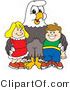 Vector Illustration of a Bald Eagle Mascot with Children by Toons4Biz