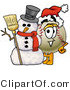 Vector Illustration of a Baseball Mascot with a Snowman on Christmas by Toons4Biz