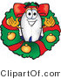 Vector Illustration of a Blimp Mascot in the Center of a Christmas Wreath by Toons4Biz