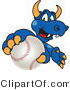 Vector Illustration of a Blue Cartoon Dragon Mascot Grabbing a Baseball by Toons4Biz