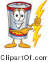 Vector Illustration of a Cartoon Battery Mascot Holding a Bolt of Energy and Pointing to the Right by Toons4Biz