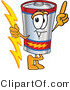 Vector Illustration of a Cartoon Battery Mascot Holding a Bolt of Energy and Pointing Upwards by Toons4Biz