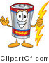Vector Illustration of a Cartoon Battery Mascot Holding a Bolt of Energy and Welcoming by Toons4Biz