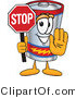 Vector Illustration of a Cartoon Battery Mascot Holding a Stop Sign by Toons4Biz
