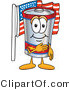 Vector Illustration of a Cartoon Battery Mascot Pledging Allegiance to an American Flag by Toons4Biz