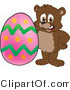 Vector Illustration of a Cartoon Bear Mascot with an Easter Egg by Toons4Biz