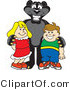 Vector Illustration of a Cartoon Black Jaguar Mascot with Children by Toons4Biz