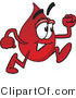 Vector Illustration of a Cartoon Blood Droplet Mascot Running by Toons4Biz