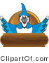 Vector Illustration of a Cartoon Blue Jay Mascot Wood Plaque Logo by Toons4Biz