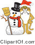 Vector Illustration of a Cartoon Bobcat Mascot with a Snowman by Toons4Biz