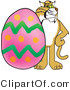 Vector Illustration of a Cartoon Bobcat Mascot with an Easter Egg by Toons4Biz