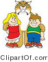 Vector Illustration of a Cartoon Bobcat Mascot with Students by Toons4Biz