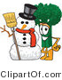 Vector Illustration of a Cartoon Broccoli Mascot Standing by a Snowman by Toons4Biz