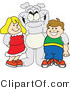 Vector Illustration of a Cartoon Bulldog Mascot Standing with School Children by Toons4Biz