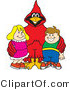 Vector Illustration of a Cartoon Cardinal Mascot with Students by Toons4Biz