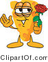 Vector Illustration of a Cartoon Cheese Mascot Holding a Rose - Royalty Free Vector Illustration by Toons4Biz